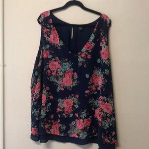 V neck Navy w pink and teal florals. 2 layers.